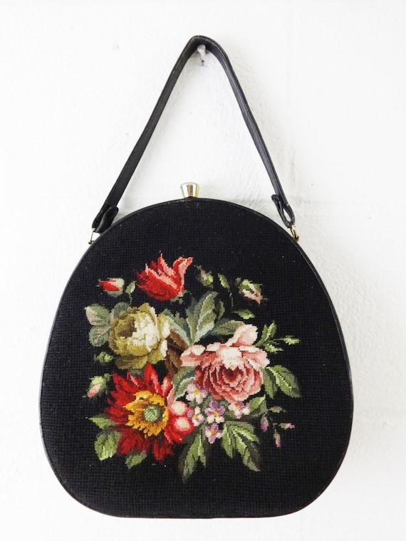 Vintage 60s Needlepoint Purse Handbag Petit Point Mad Men