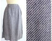 Vintage Calvin Klein Skirt |   80s Seersucker Silk Skirt |  Striped Midi Skirt | M-L