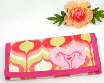 Large Pink Wallet, Anatomical Uterus wallet : Pink and Yellow Heart Wallet