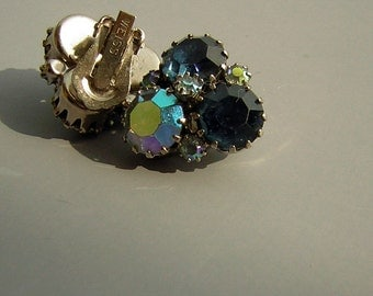 WEISS Vintage 60s Signed Earrings Blue Rhinestone Clip On from DecadencePast
