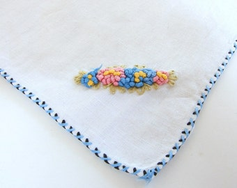Pair of Vintage Embroidered Flowers on White Linen Handkerchiefs
