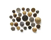 Vintage Uniform Buttons . Silver and Gold . Button Assortment . DIY . Sewing Supplies