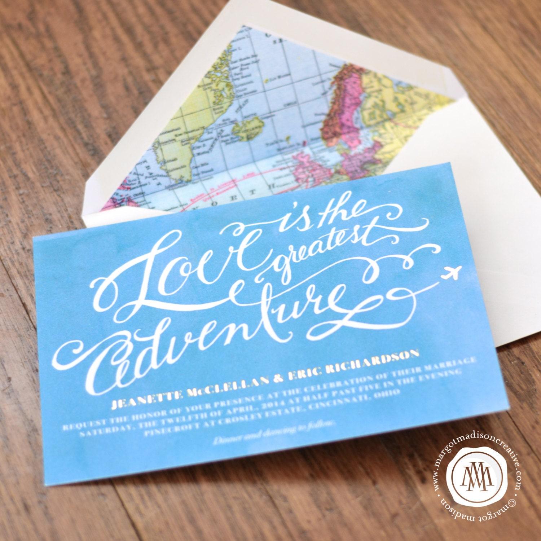 Travel Theme Calligraphy Wedding Invitation By MargotMadison