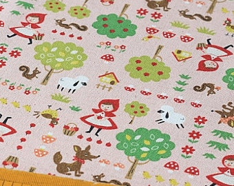 Japanese Fabric Kokka Cotton Linen Blended - Little Red Riding Hood - Half Yard