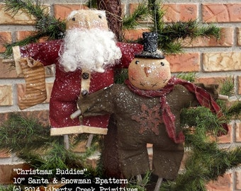 Instant Download Epattern Primitive Snowman & Santa