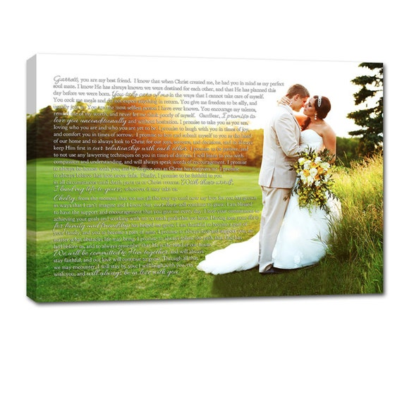 Personalized Photo Words Wedding Art Canvas Gallery Wrap , Engagement  Anniversary Just Married Photo 36X48 Geezees Custom Canvas Artwork
