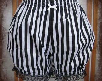 Black and white striped micro mini bloomers