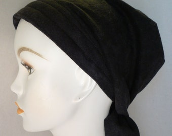 Black Flannel Chemo Cancer Hairloss Scarf Turban Hat Headwrap Soft & Warm