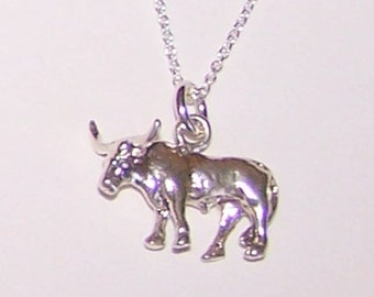 Sterling 3D STEER Pendant with Chain - Rancher, Cows, Rodeo, Livestock, Farm, Ranch