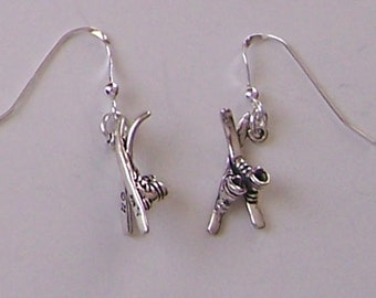 Sterling Silver 3D SKIS & BOOTS  Earrings -  Snow Sports