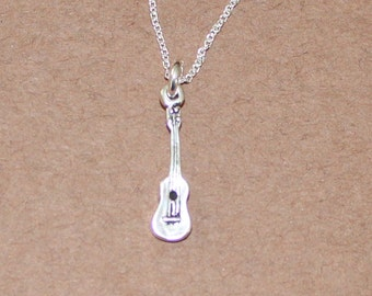 Sterling 3D UKELELE Pendant and 22 Inch Chain - Music, Musician, Instrument