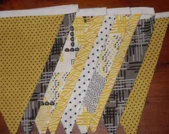 black yellow grey fabric flag banner teacher classroom office party outdoor bunting