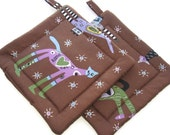 Handmade Quilted Pot Holders  set of 2 It's Raining Cats