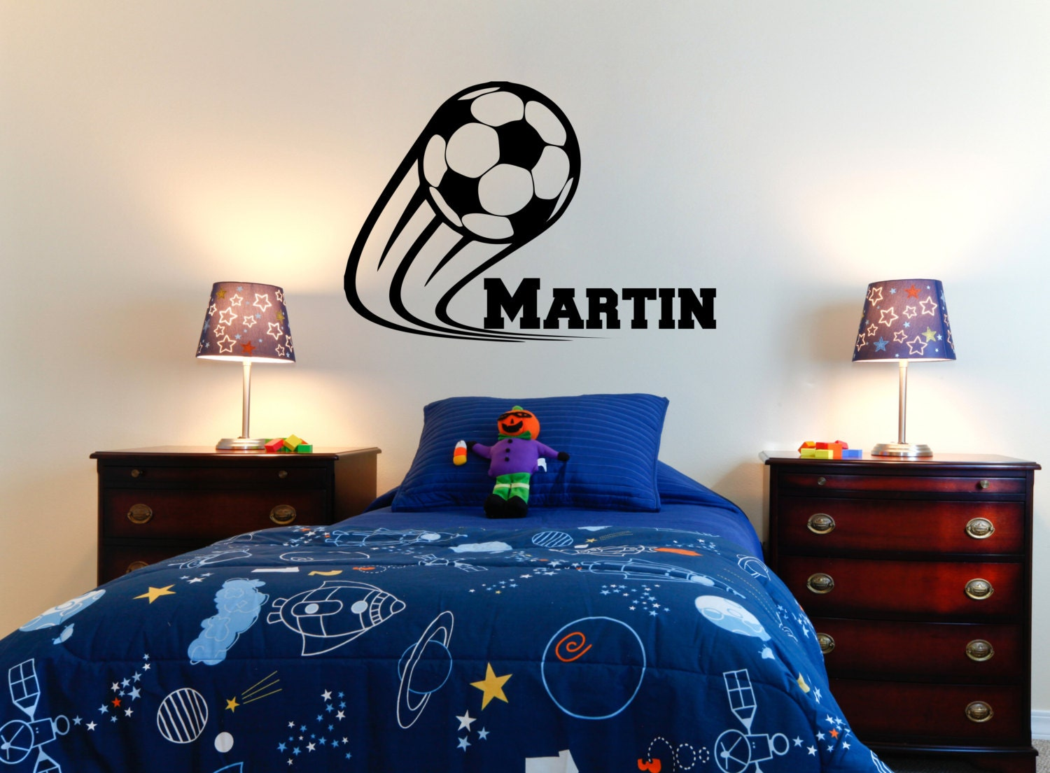 Soccer wall decal with athletic font personalized name for Stickers para dormitorios