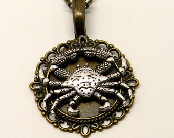 Steampunk crab pendant necklace. Steampunk jewelry.