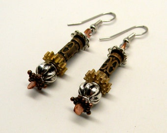 Steampunk jewelry mixed metal earrings.Steampunk earrings.