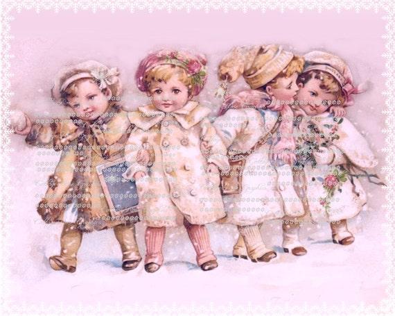 Pink Christmas Wonderland Snow Children and roses Large digital download ECS buy 3 get one free