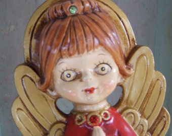 Vintage Red and Gold Paper Mache Praying Angel
