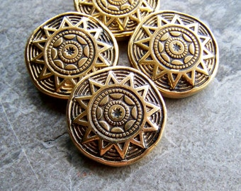 Vintage Gold Plated Metalized Etched Ornate Lucite Aztec Sun Burst Round Lentil Beads-4 Beads