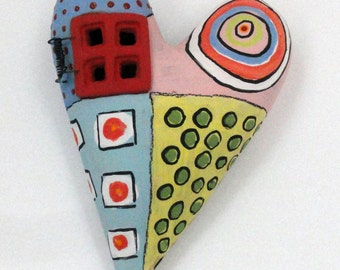 The Window to my Heart  Ceramic Wall Sculpture Valentine Folk Art