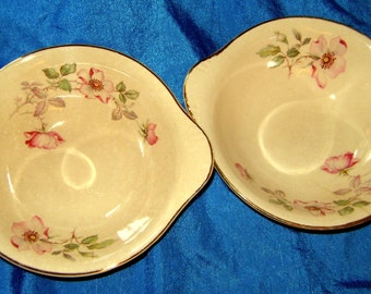 2 antique bowls. Gold trim floral  Edwin Knowles China Co. Made in USA