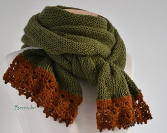 Knitted scarf, moss green with copper brown lace trim and glass pearl beads K99