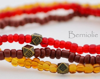 Beaded bracelet, brown and red glass seedbeads, stretchy, 7.5 inch, S21