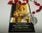 Infant of Prague Chaplet and Prayer Card, Red Swarovski, Rhinestones, Clear Crystal, Single Decade Rosary, Beads of Intention