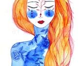 Red Hair II. Art print. Art illustration