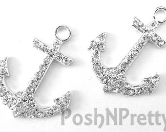 TWO Anchor Rhinestone Flat back Center - Clear, Red or Navy Blue