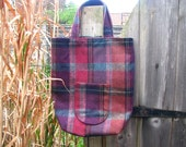 SALE - Small tartan tote in purples & browns