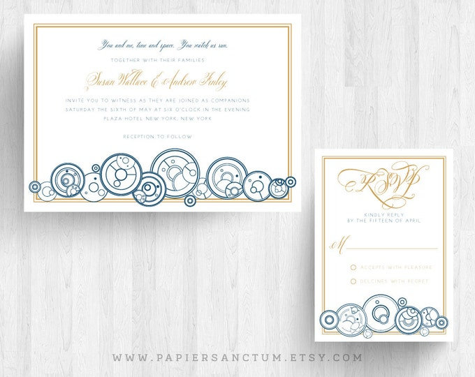 Featured listing image: Set of 10 Whovian Wedding Invitation Sets