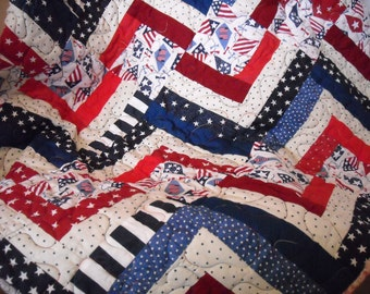 Patiotic Quilted Red, White, Blue Table Runner in Striped Bars and Star Blocks