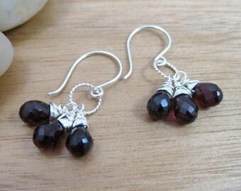 Garnet Dangle Earrings Sterling Silver January Birthstone Jewelry Birthstone Earrings Red Gemstone Earrings Garnet Earrings - Red Grapes