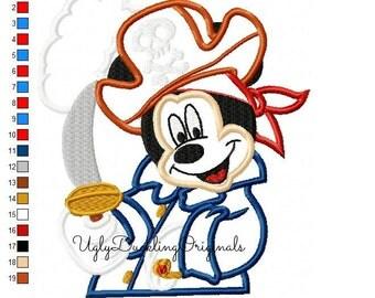 Pirate Mickey Machine Embroidery Applique Design Digital Download