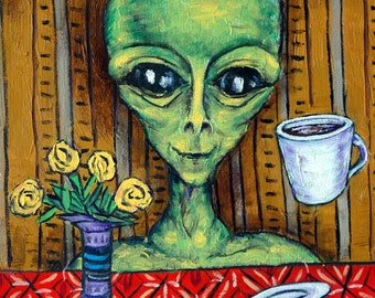 Alien at the cafe with coffee art PRINT poster gift modern folk pop art