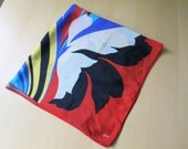 80s Honey Red Purple Yellow Tulip Graphic Print Silk Square Scarf