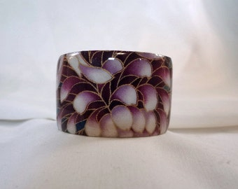 Purple Floral Wide Cuff Bracelet, Resin, Accessory(CCB196)