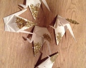 Set of Five Glittery White Cranes
