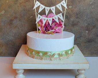 "Cake stand cupcake stand, dessert table decor... 14"" square wedding cake pedestal,  Rustic vintage white color"