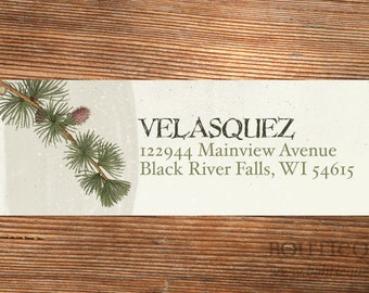Pine Bough Christmas Address Labels, Holiday Labels, Return Address Labels, Envelope Labels, Custom Labels, Address Label Stickers