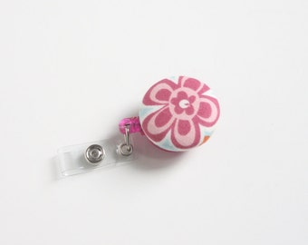Badge Reel Id Holder Pink Flower 2