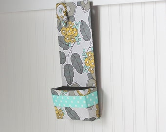Narrow Message Center Magnet Board with closed pocket - Gray Turquoise and Mustard Floral with polka dot ribbon detail