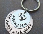 Dog Angel Keychain- My Angel with Paws- Pet Memorial Keychain -Love my dog- P6