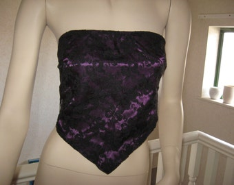 sequoia Black,Purple,Red,White,Pink,green Lace Goth,rock Boob/ BANDEAU Tie Up Crop Top