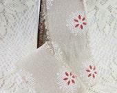 Snowflake Print Cotton Blend Ribbon by the yard