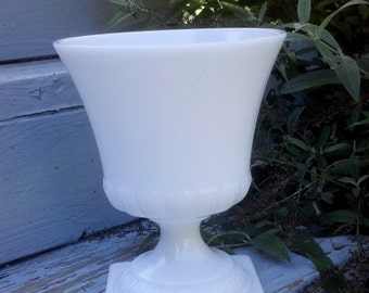 Vintage Milk Glass Vase or Urn White from 1960s Floral arrangement container Home decor collectibles Retro Shabby Chic