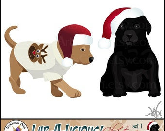 INSTANT DOWNLOAD Lab a Licious Christmas Dog Graphics set 1  with 2 digital graphics Santa hats and ugly chrismtas sweater reindeer