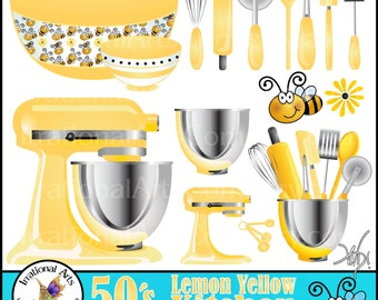 50's Lemon Yellow Kitchen INSTANT DOWNLOAD Digital Clipart Graphics16 kitchen baking supplies bowl whisk rollingpin spatula bee daisy peeler