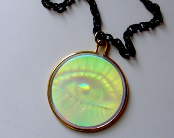 Illuminati eye hologram necklace . optical illusion conspiracy dystopian green eye black chain . steampunks borgs unisex men women teens
